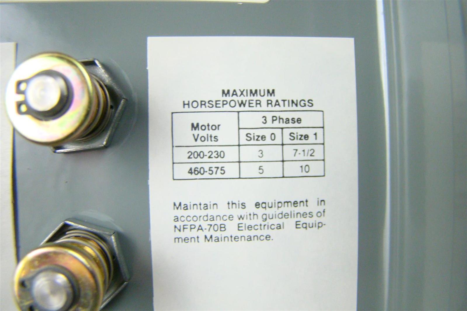 Allen Bradley Manual Motor Starter Size 0 3ph 609 Ajw