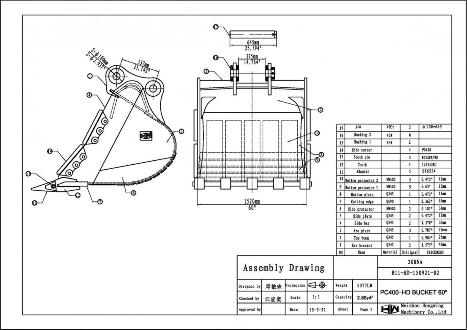60  u0026quot  heavy duty excavator bucket komatsu pc400  100mm pins