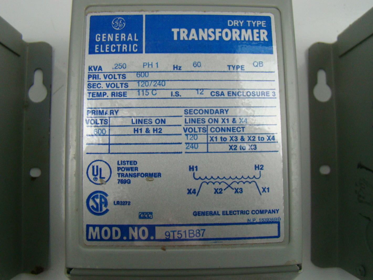 general electric 25 kva transformer ph1 600vx120 240v. Black Bedroom Furniture Sets. Home Design Ideas