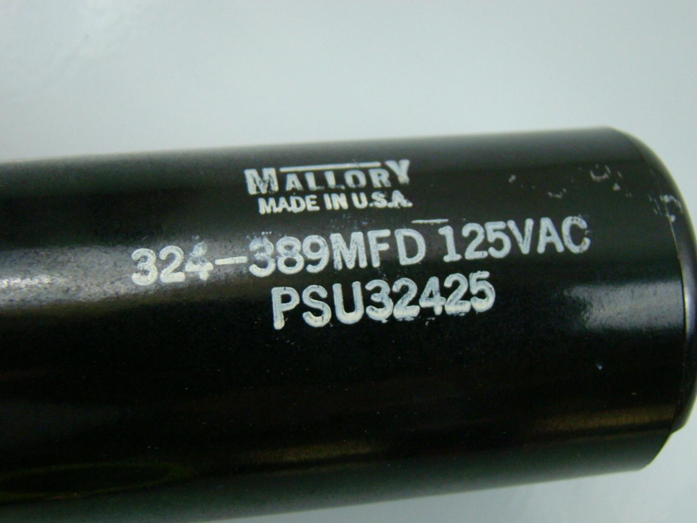 Mallory 324 389 Mfd Motor 28 Images Mallory 324 389