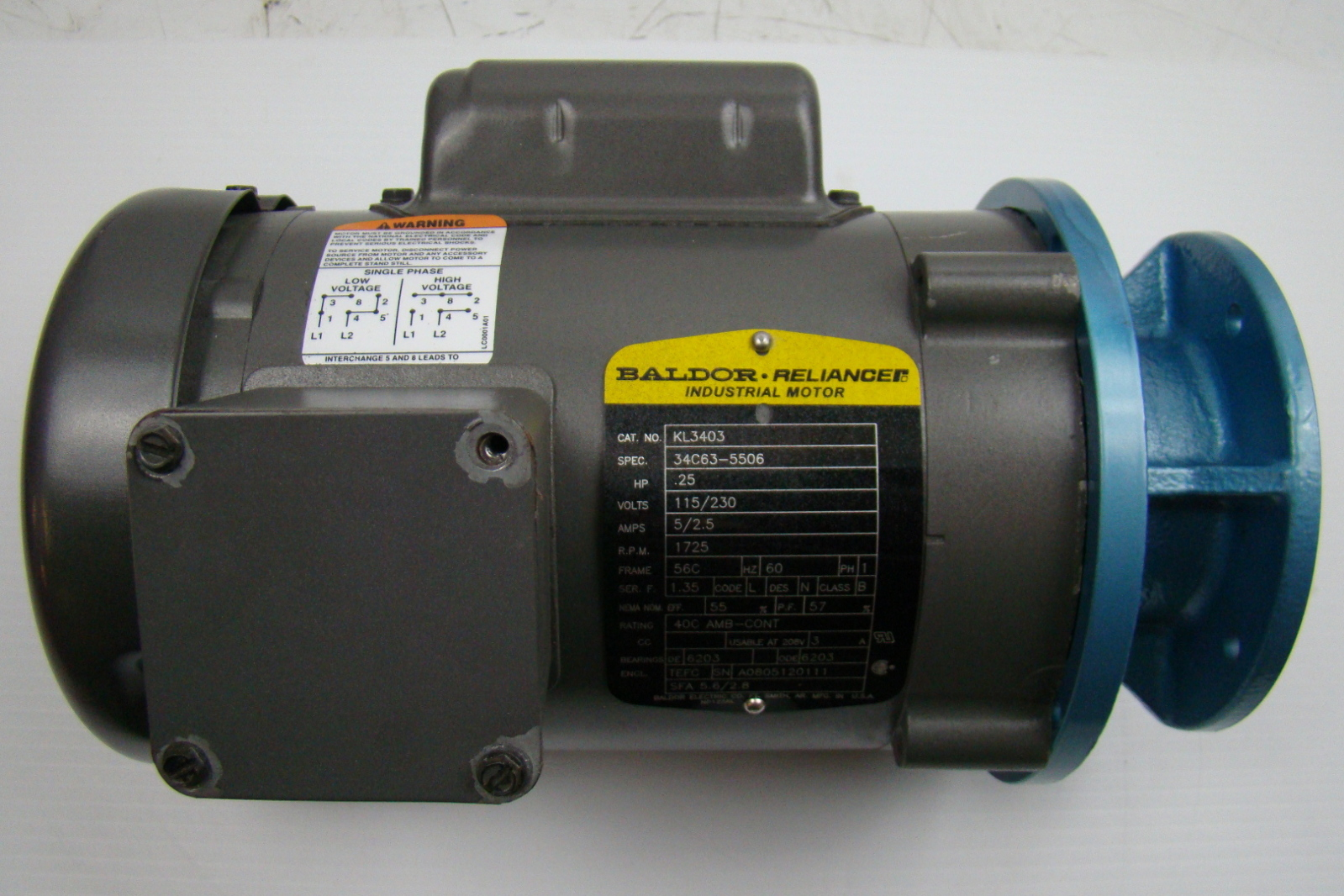 jf00641 baldor 14 hp industrial motor 115230v single phase 56c kl3403 baldor 1 4 hp industrial motor 115 230v single phase 56c kl3403 baldor reliance industrial motor wiring diagram at n-0.co