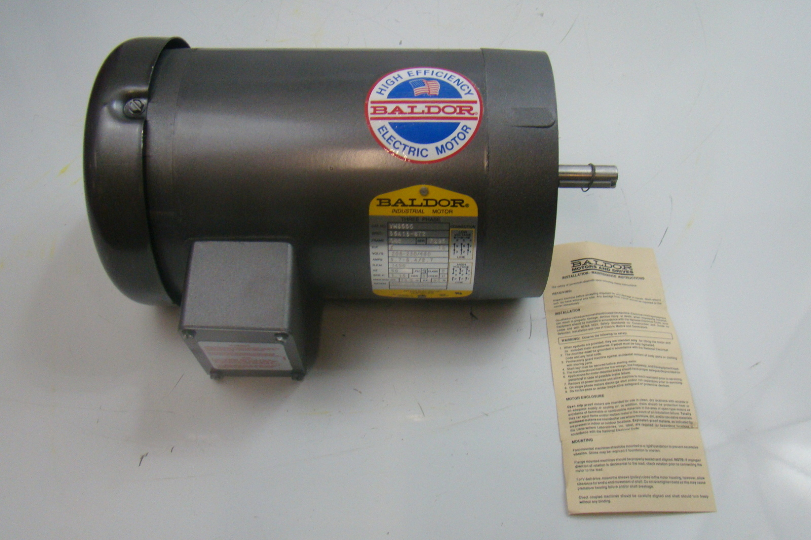 Baldor 2 hp 3450 rpm electric motor vm3555 ebay for 9 hp electric motor