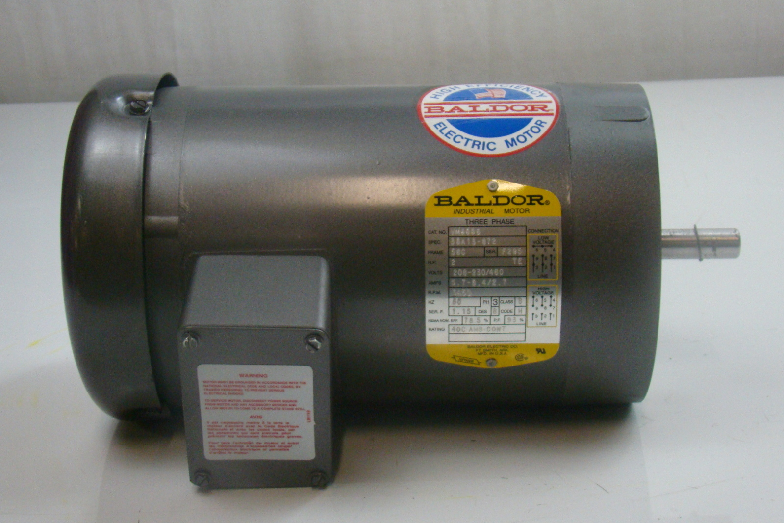 Baldor 2 hp 3450 rpm electric motor vm3555 ebay for 2 rpm electric motor