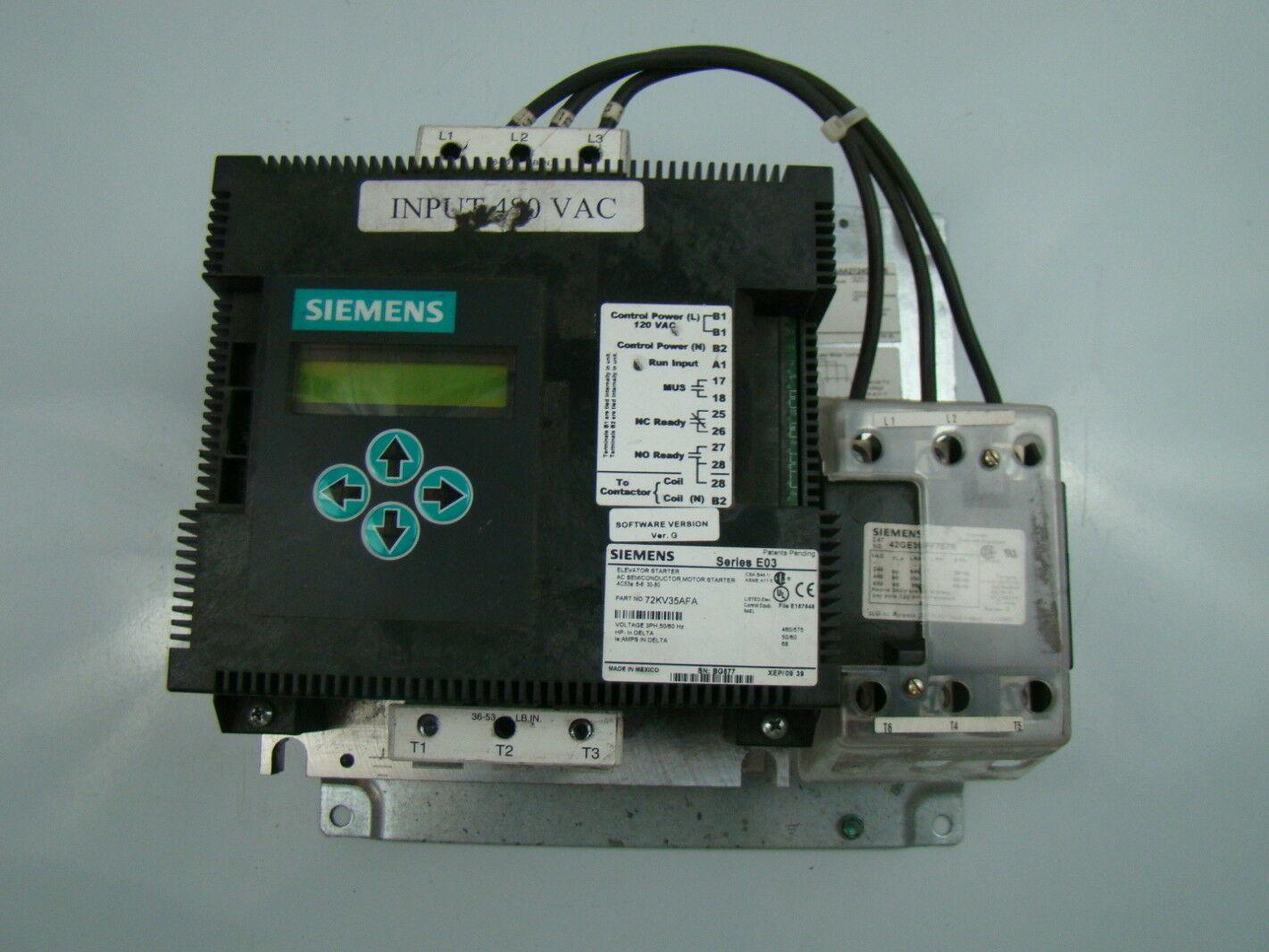 Siemens 3ph Elevator Motor Starter 72kv35afp Ebay