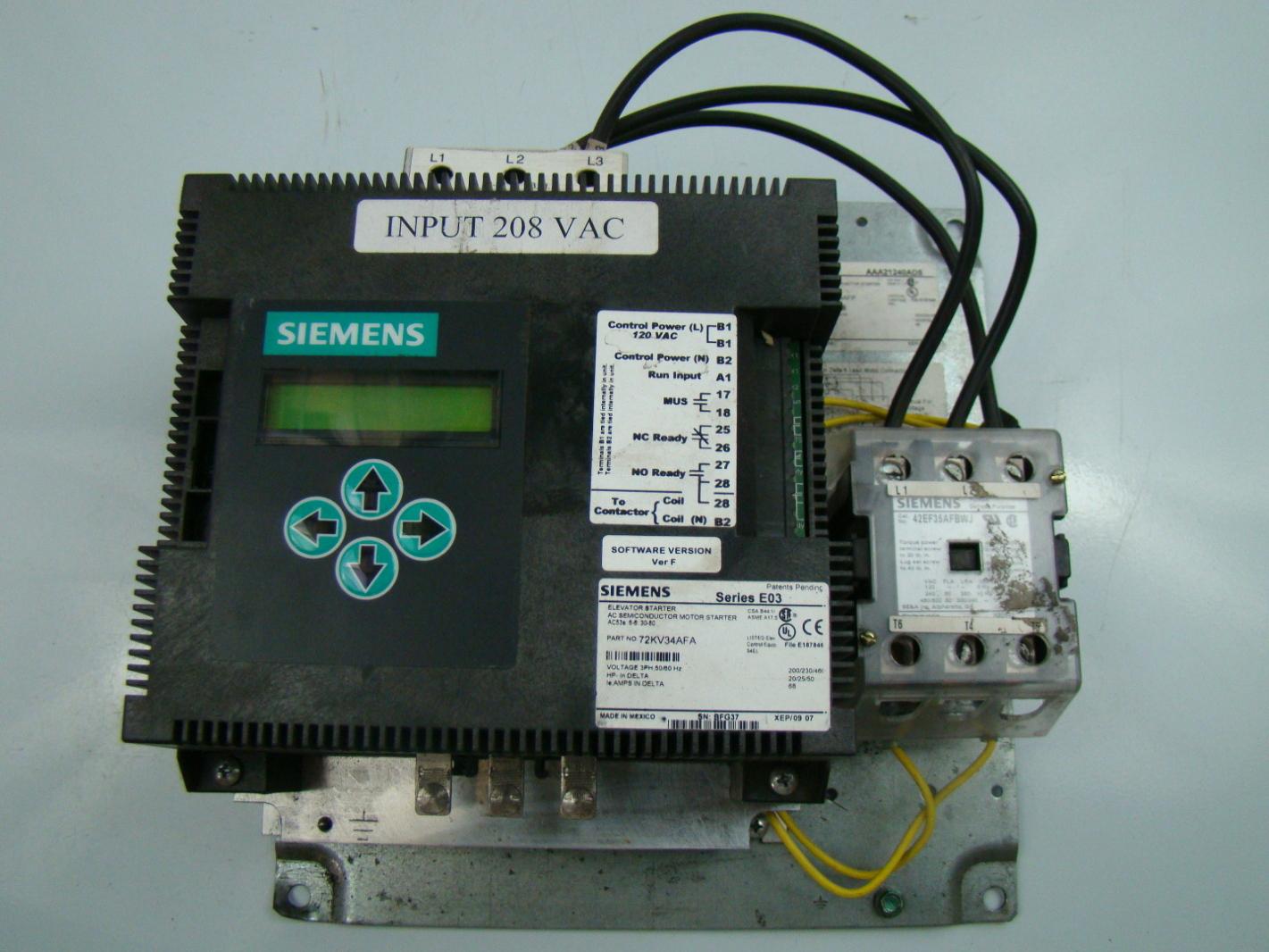 Siemens 3ph Elevator Motor Starter 72kv34afa Joseph