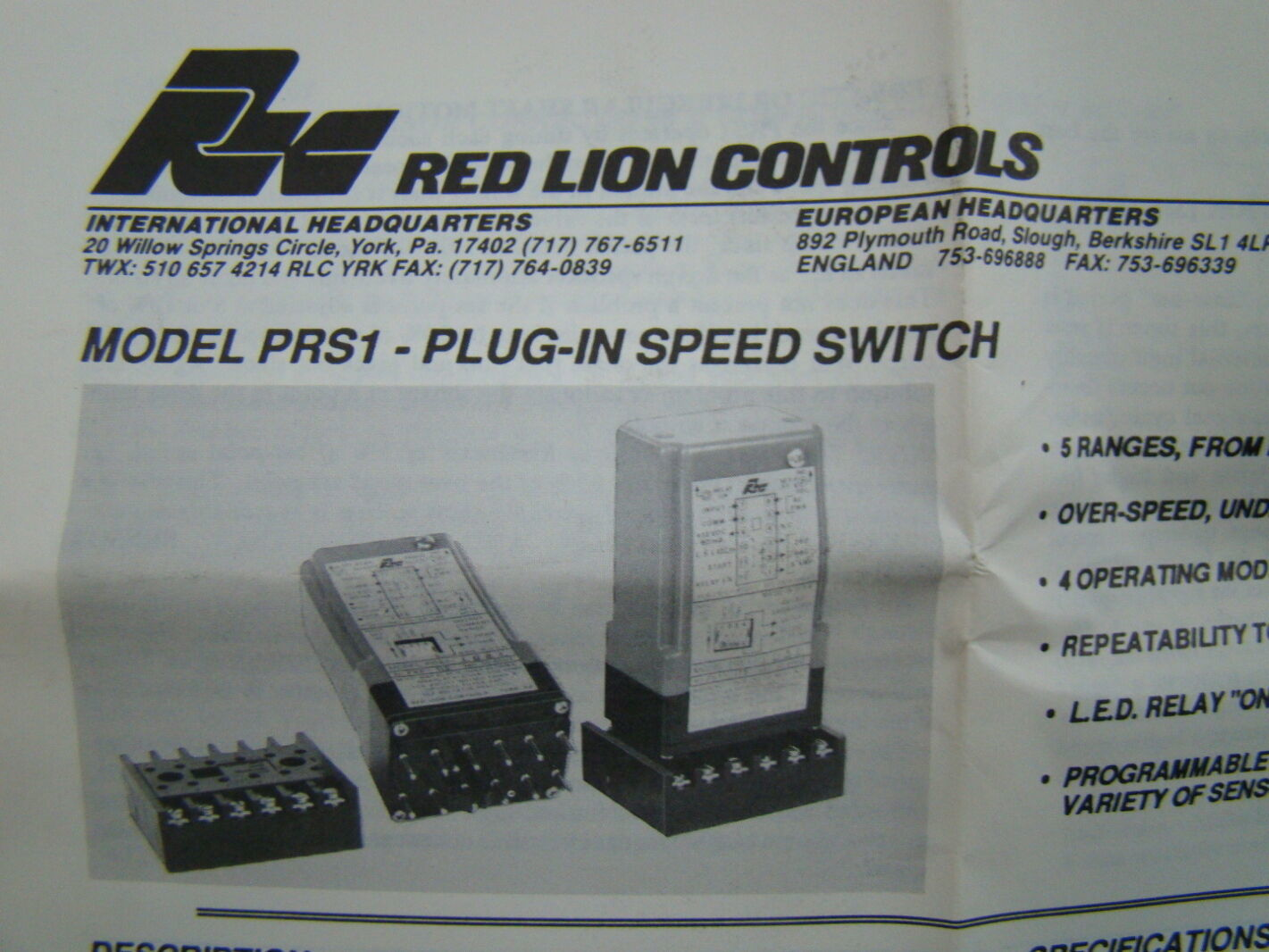 Red Lion VAC Plug In Speed Relay Switch Model PRS - York relay switch