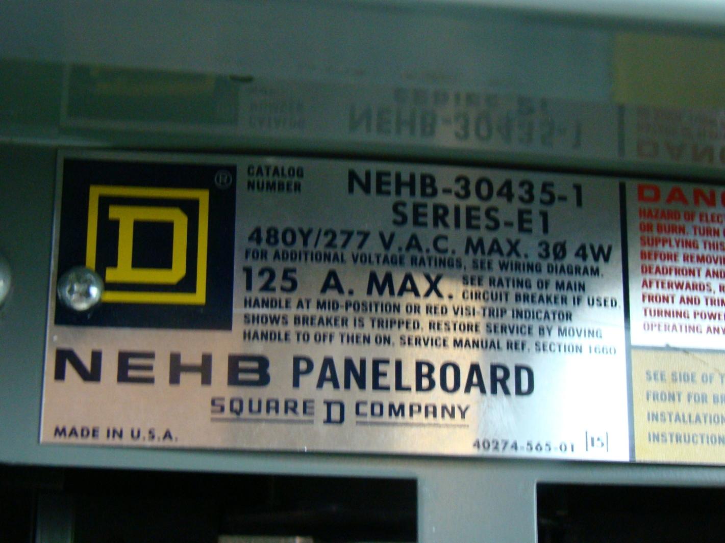 Square D 277 480v 125 Amp Nehb Panelboard Nehb 30435 1 Ebay