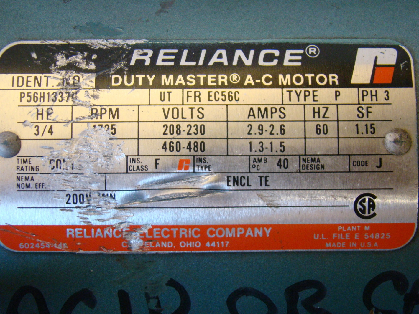 Reliance 3 4hp Electric Motor Volts 208 230 460v P56h1337