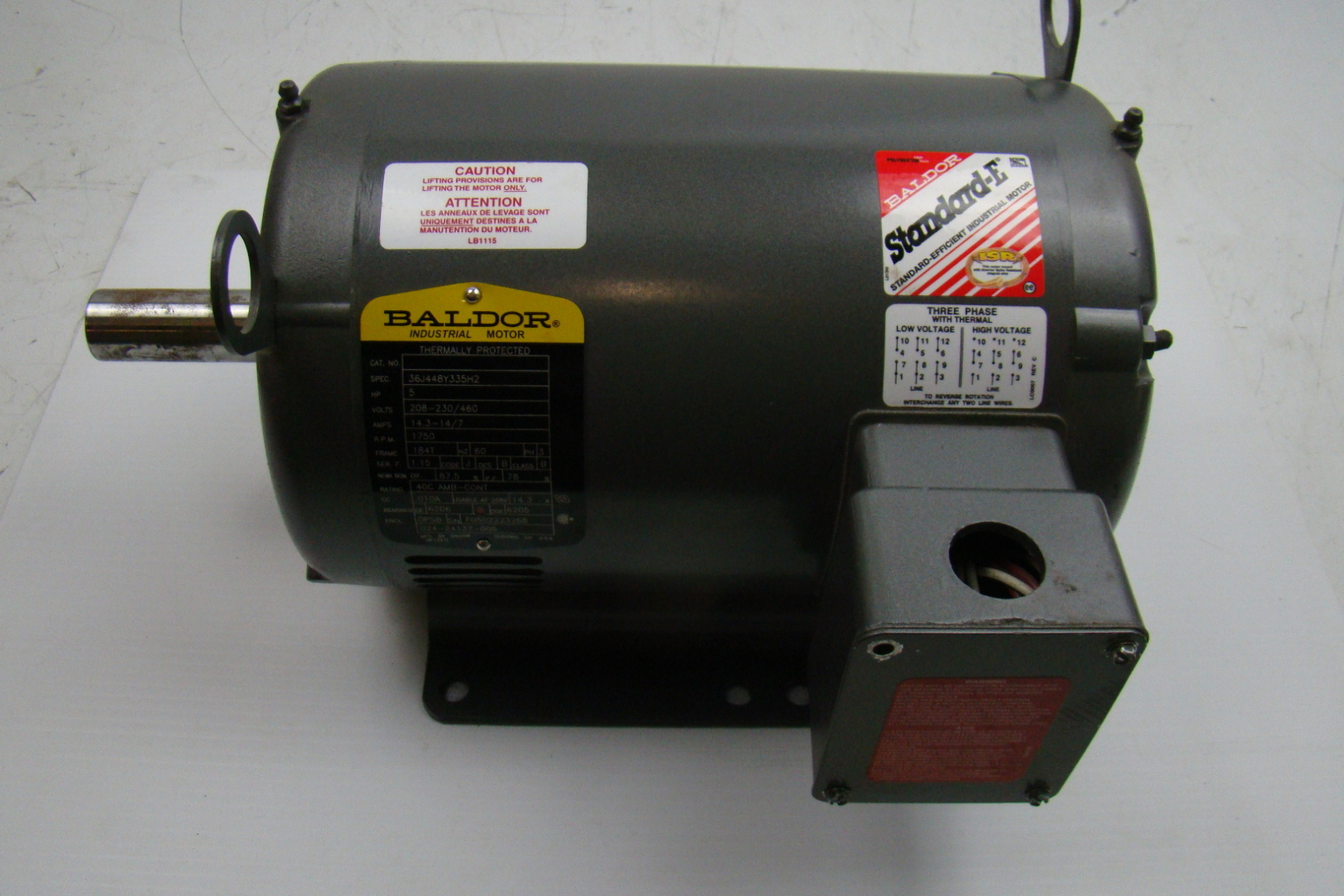 Baldor standard e 5hp electric motor 230 460v 36j448y335h2 for Baldor electric motor parts