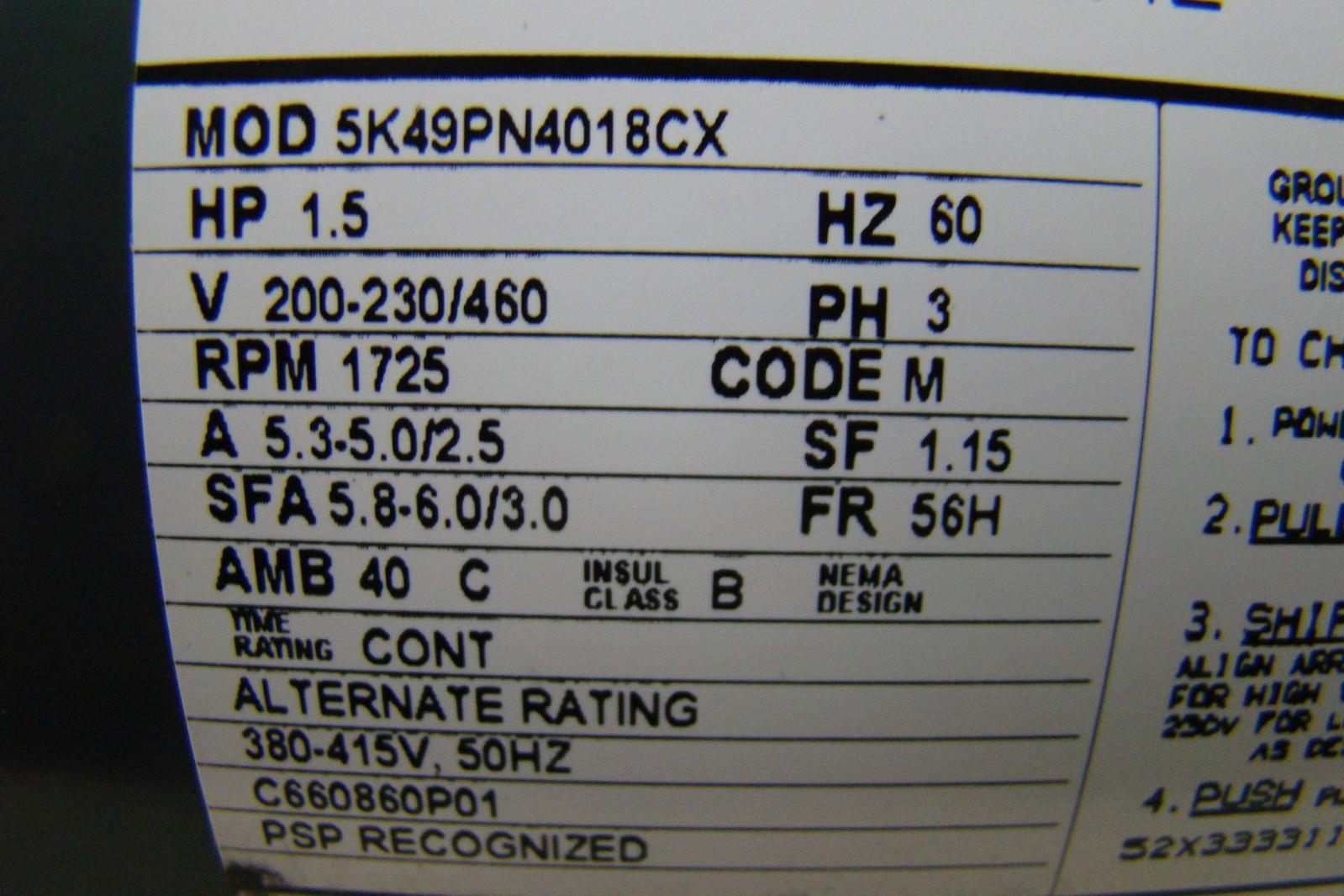 Marathon Electric Motor 1 1 2 Hp 200 230 460v 5k49pn4018cx