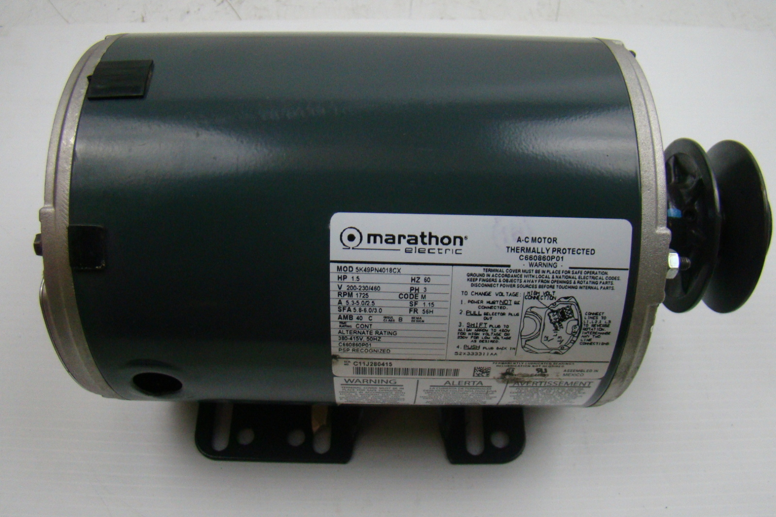 Marathon electric motor 1 1 2 hp 200 230 460v 5k49pn4018cx for One horsepower electric motor
