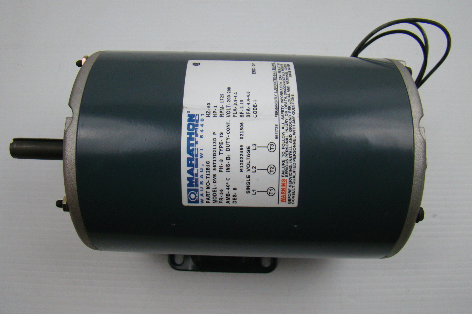 Marathon electric motor 200 208v 1 hp dvb56t17d2113d ebay Marathon electric motors price list