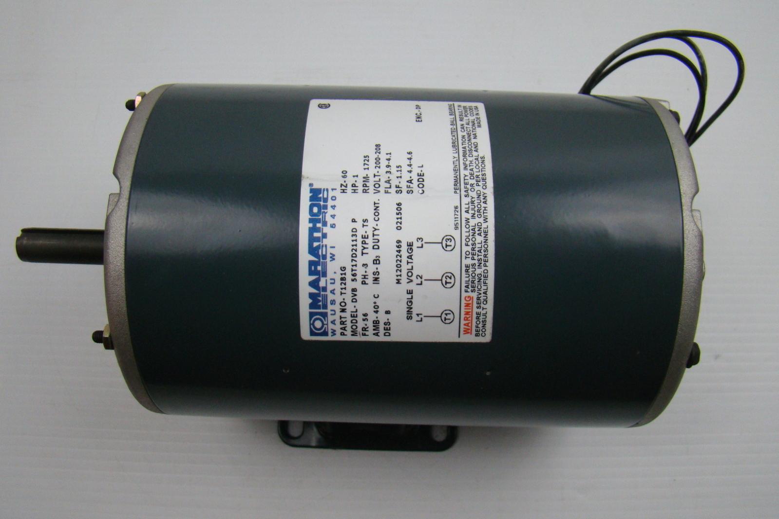 Marathon Electric Motor 200 208v 1 Hp Dvb56t17d2113d Ebay