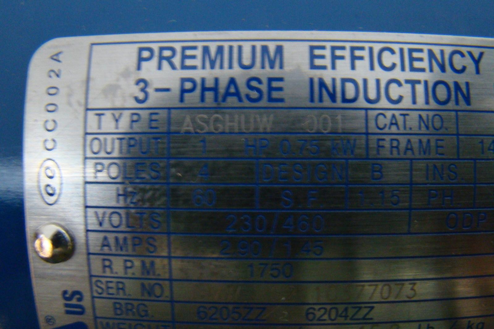 Premium Efficiency 1 Hp 230 460v Induction Motor Dtp0014