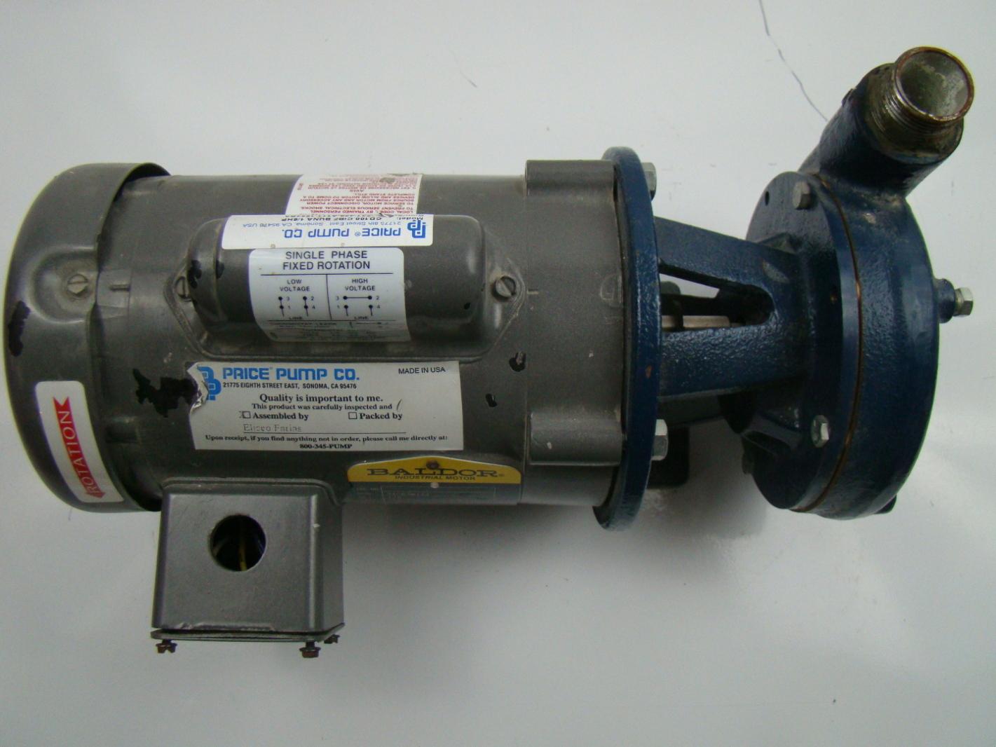 Close coupled centrifugal pump baldor 1 6 hp 1425 1725 rpm Baldor industrial motor pump