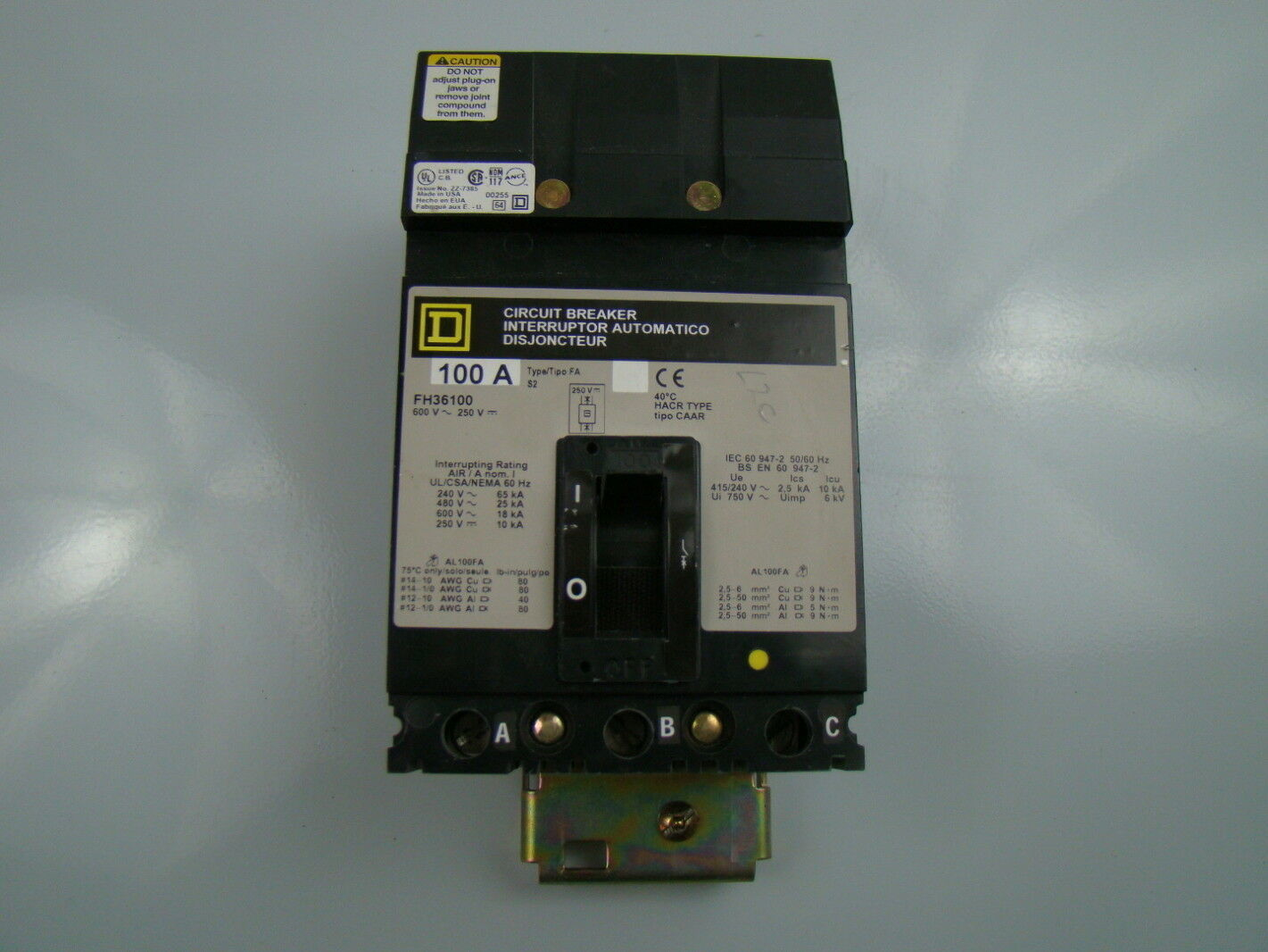 Details about Square D I-Line Circuit Breaker 100A 600VAX 250VDC ...