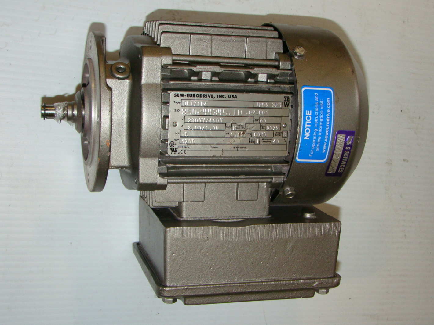 Sew Eurodrive 1 2hp Motor Dft71d4 Ebay