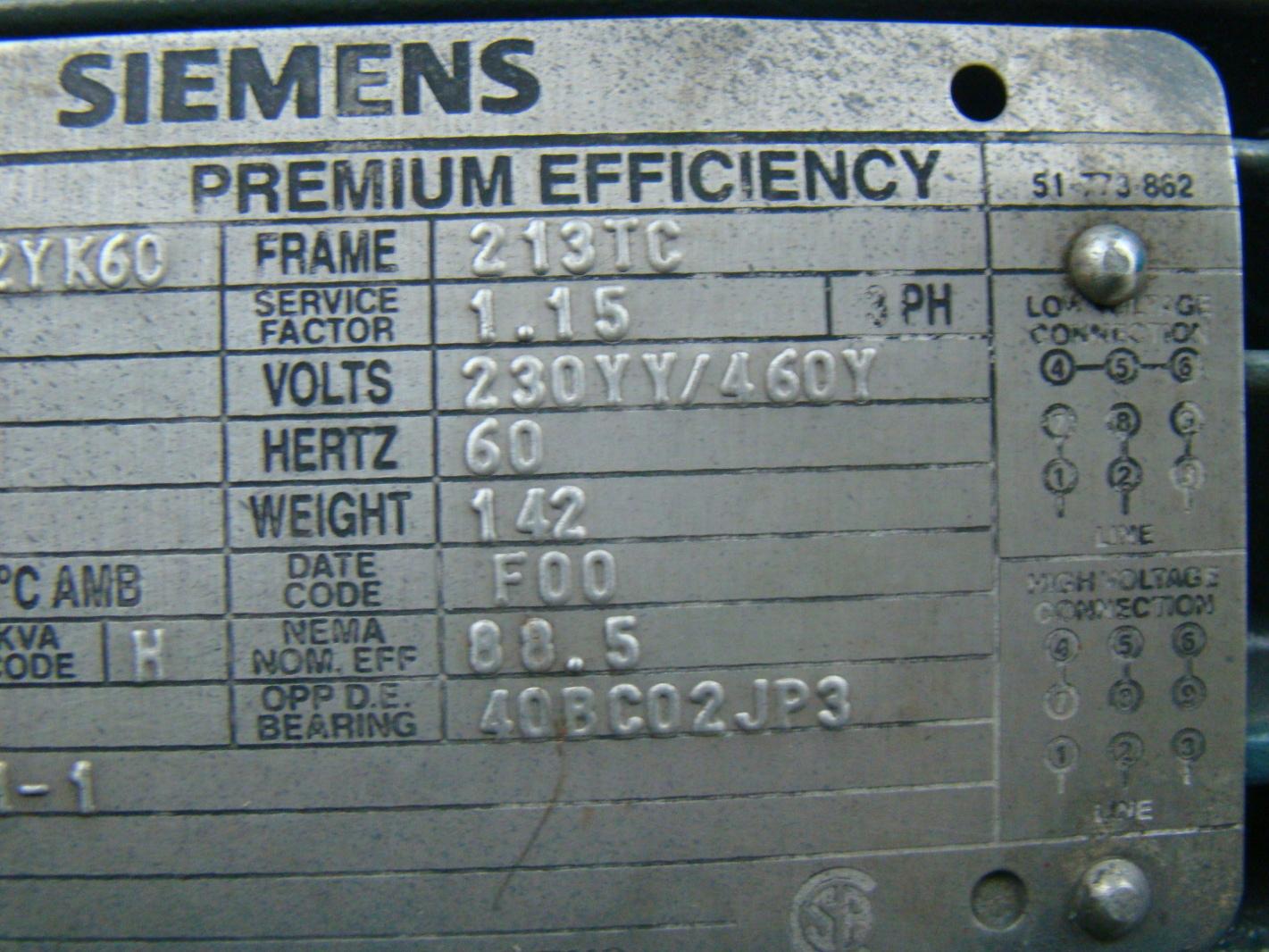 Siemens 7 5hp electric motor 230 460 r6zesd metpro pump for 10 hp motor weight