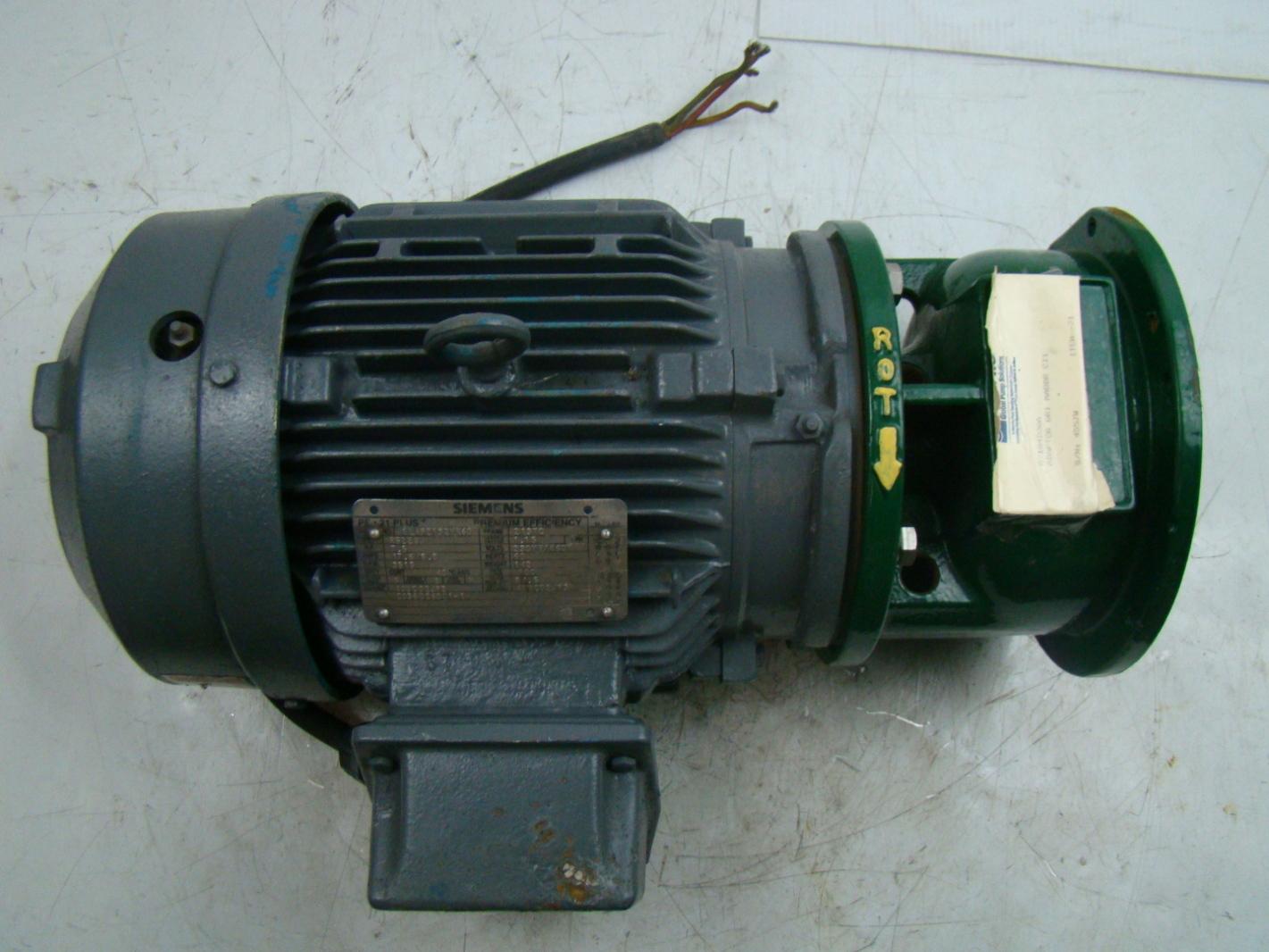 Siemens 7 5hp electric motor 230 460 r6zesd metpro pump for Hydraulic pump motor adapter