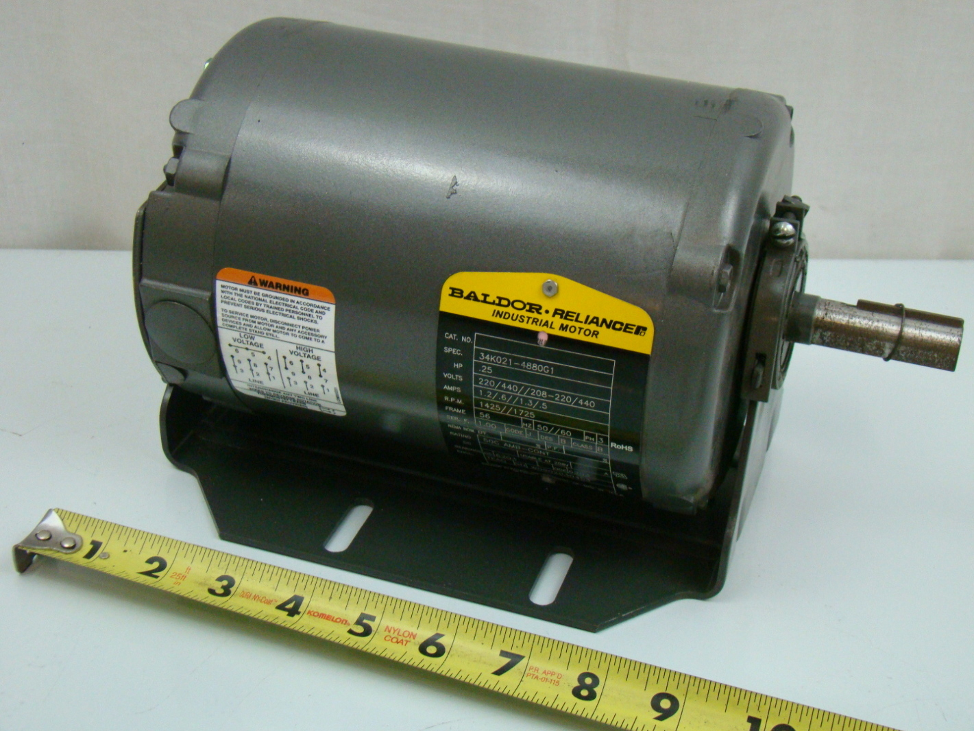 Baldor 1 4 hp 3ph electric motor 34k021 4880g1 for One horsepower electric motor