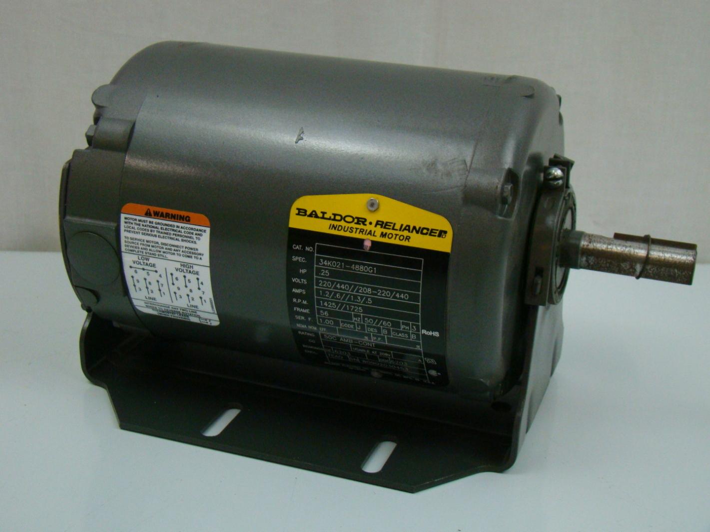 Baldor 1 4 Hp 3ph Electric Motor 34k021 4880g1 Ebay