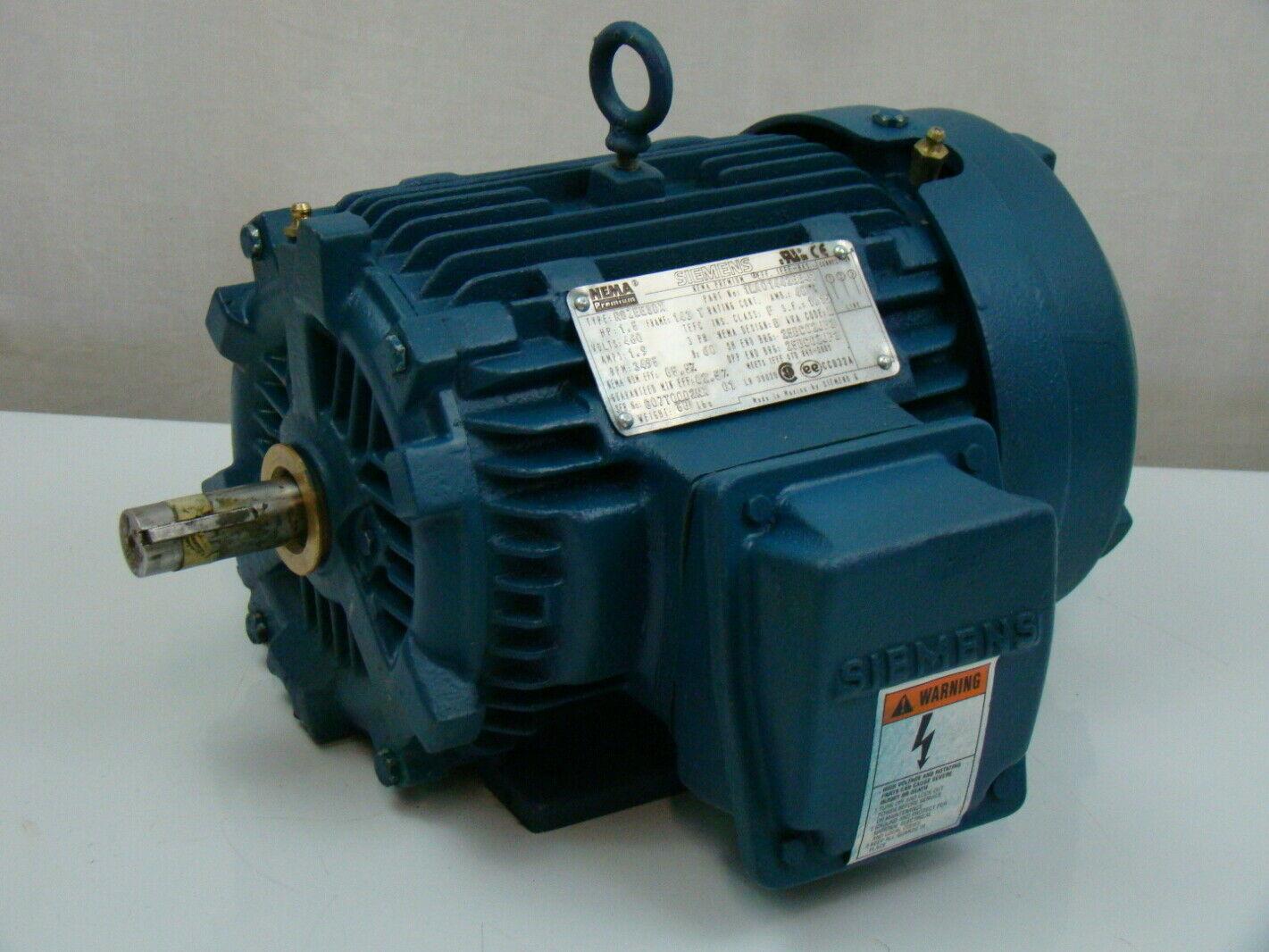 Siemens 1 5 Hp 460v Electric Motor 1la014423341 Ebay