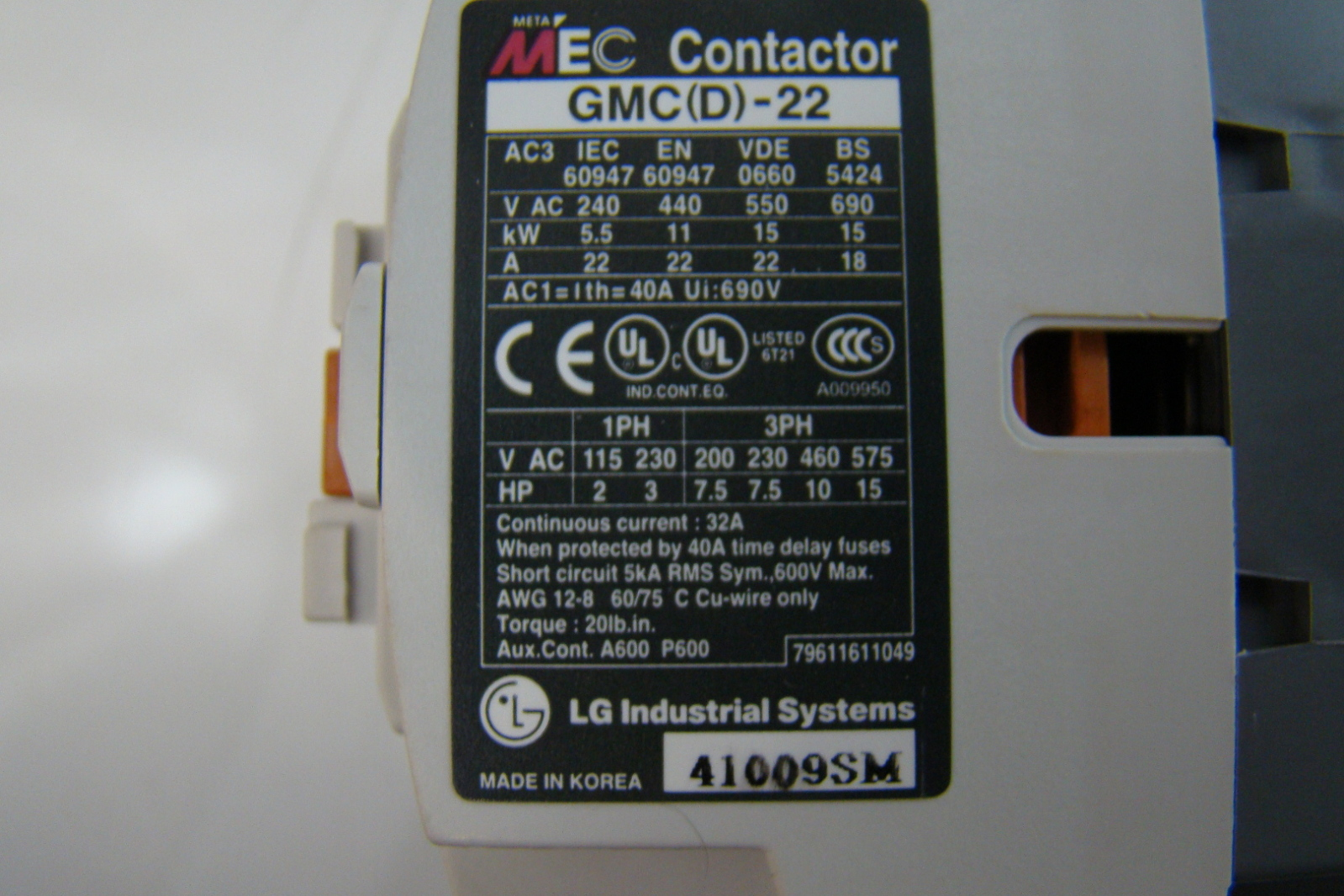 LG Meta Mec 240V Contactor GMD 22R eBay #713526