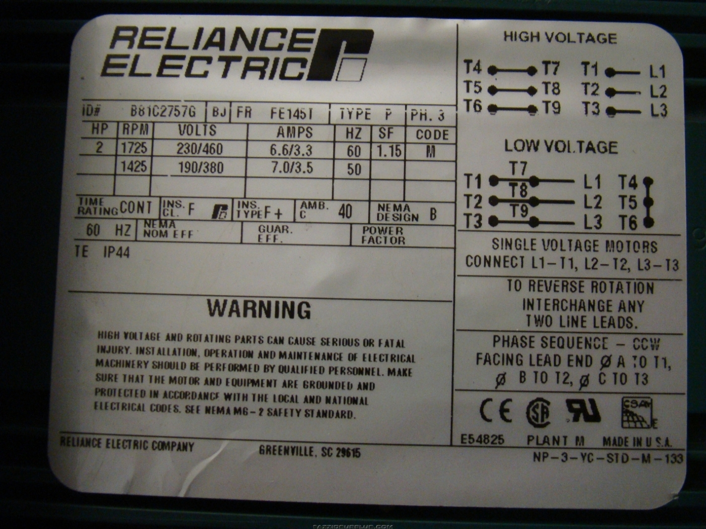 Reliance 2hp Electric Motor 230 460 3ph B81c27576 Joseph