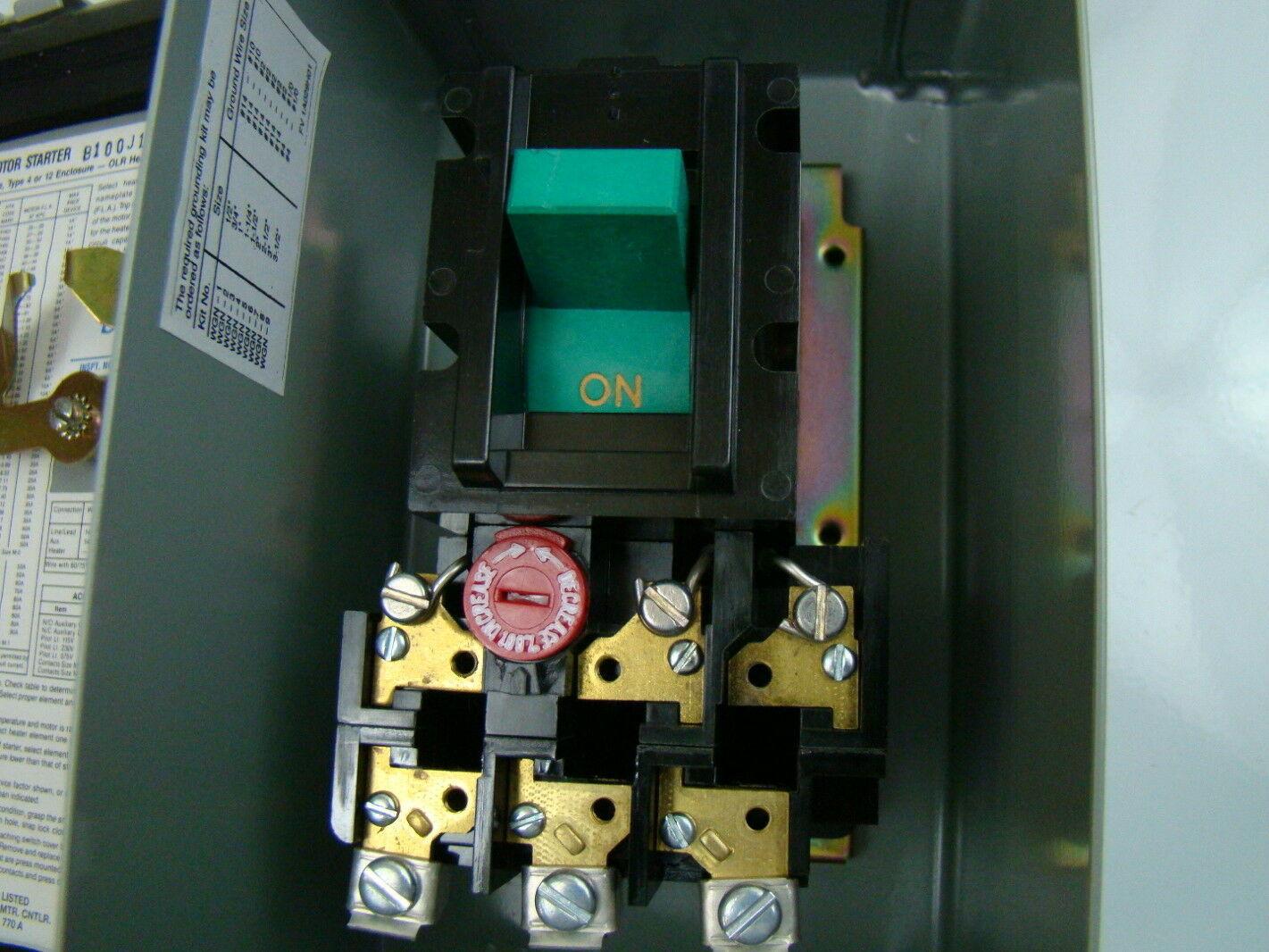 Eaton 3ph Enclosed Manual Motor Starter B100j1c Ebay