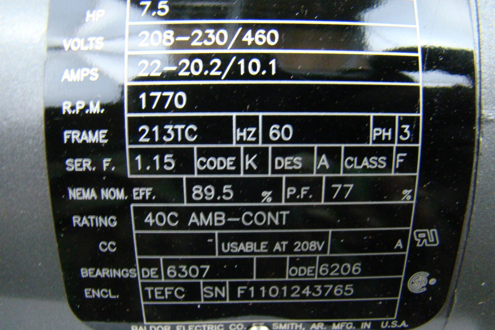 Baldor reliance 7 5hp electric motor 230 460v vm3710t ebay for Circuit breaker for 7 5 hp motor