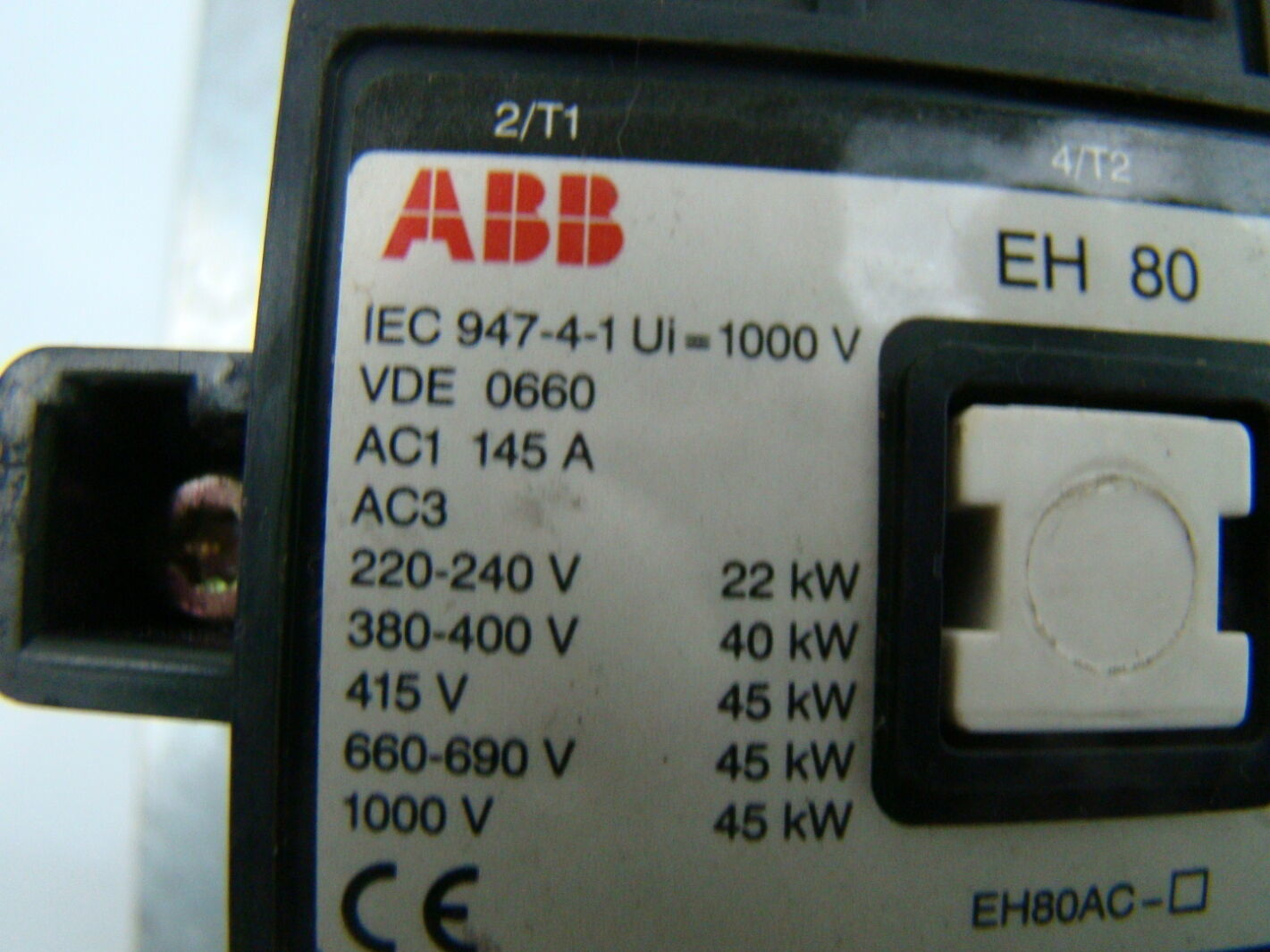 ABB 3 Phase EH80 Contactor IEC 94741 – Iec Starter Wiring Diagram