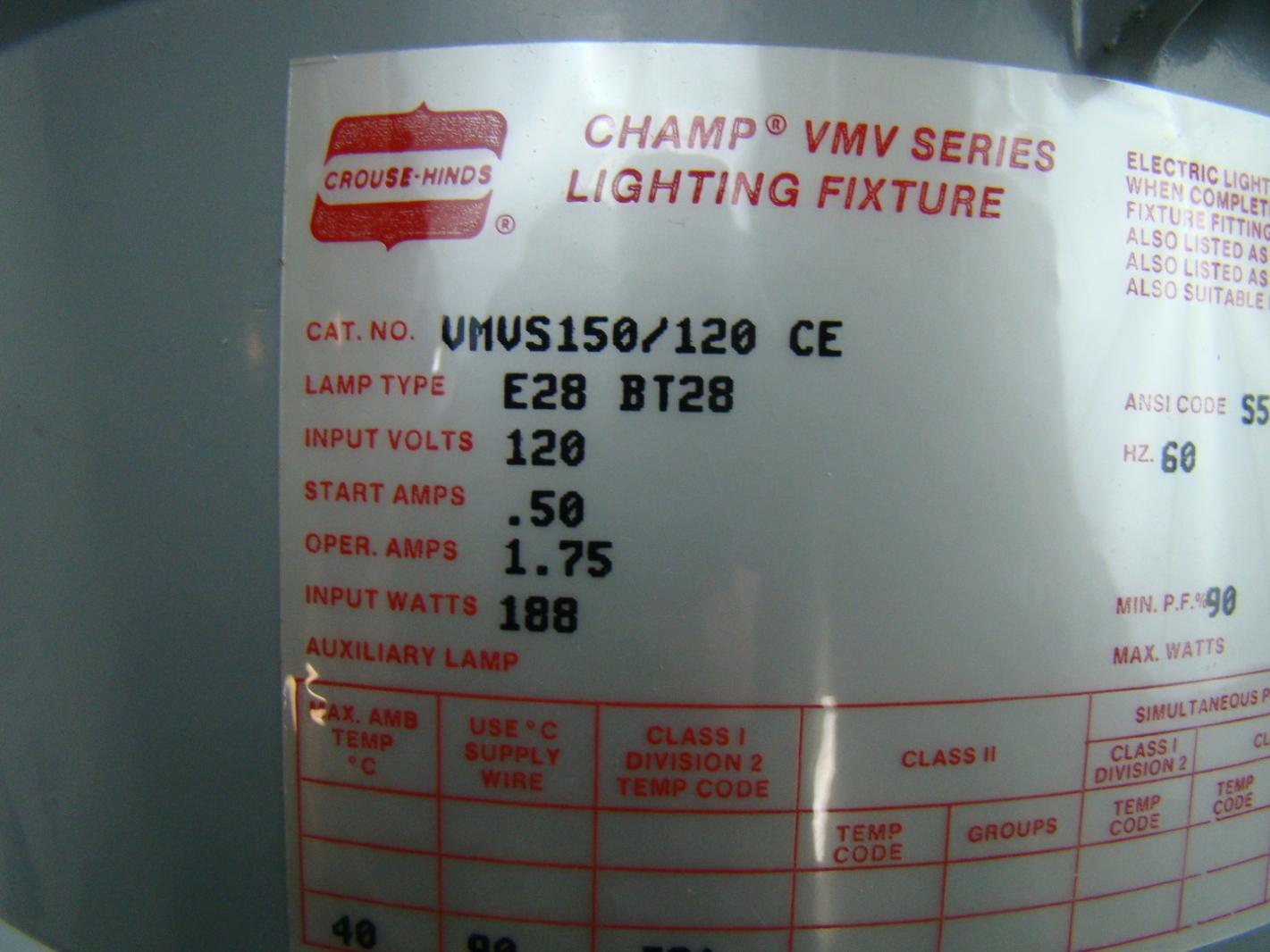 Crouse hinds champ hid lighting fixture 120v 150w vmvs150120 ce crouse hinds champ hid lighting fixture 120v 150w vmvs150120 ce arubaitofo Choice Image