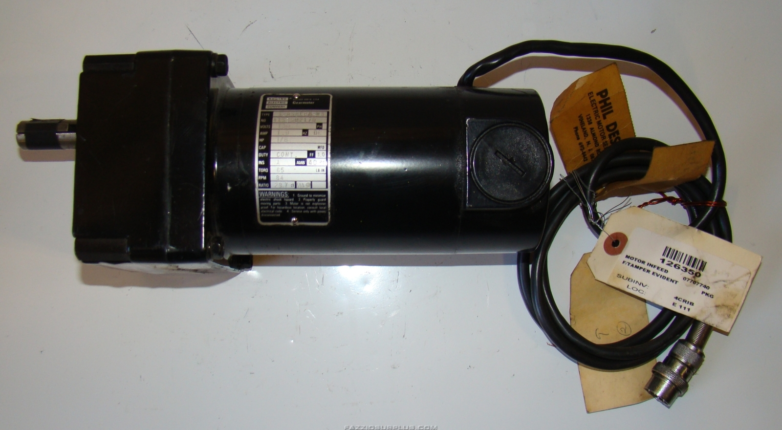 Bodine Electric 1 8hp 29 7 1 Gearmotor 130vdc 32d5bepm W3