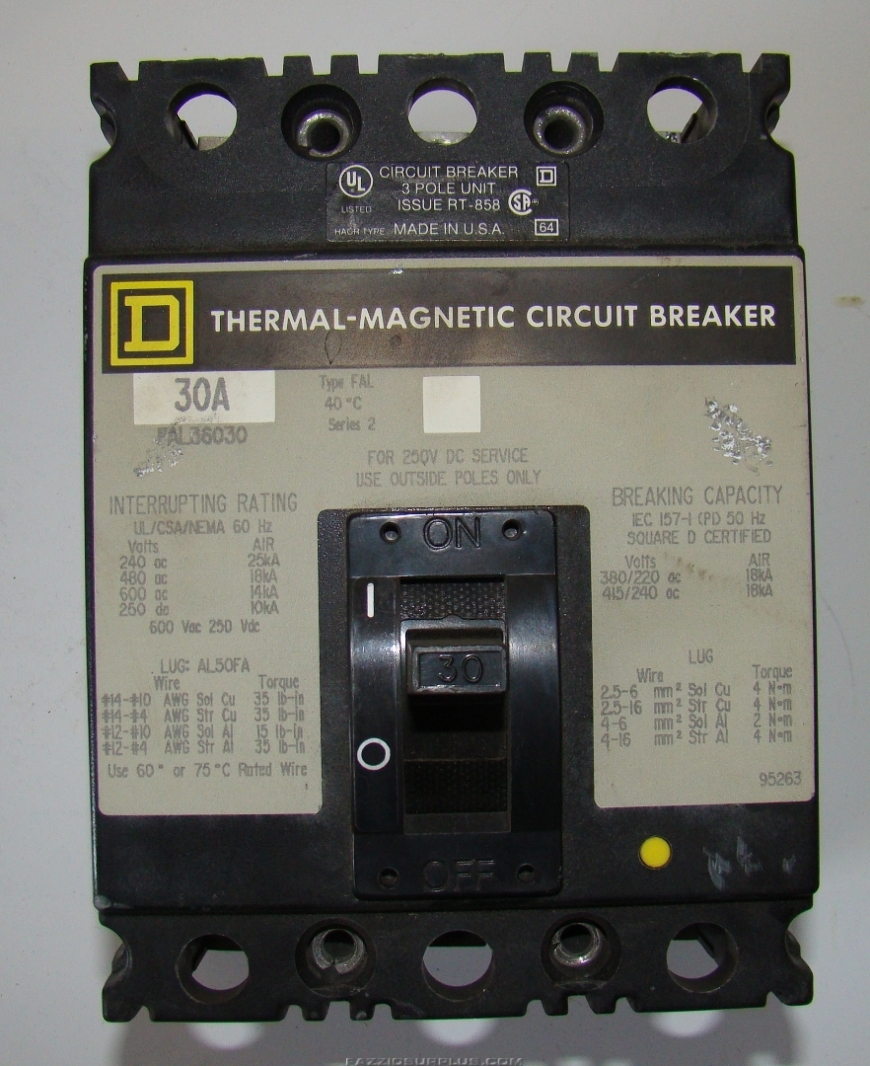 Square D 30a Thermal Magnetic Circuit Breaker Fal36030