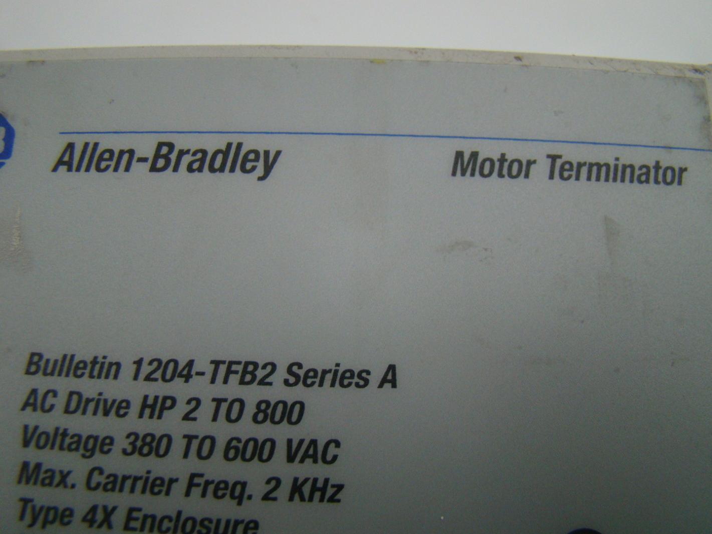 Allen Bradley Motor Terminator 1204 Tfb2 Joseph Fazzio