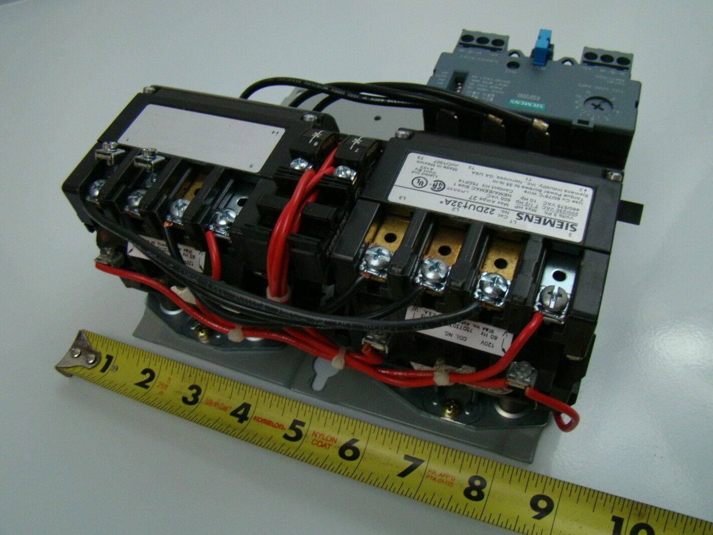 Siemens 120v Nema Size 1 Reversing Starter 22dub32af Ebay