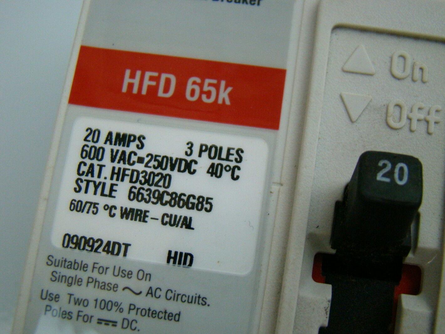 Cutler Hammer 20 Amp 600VAC Circuit Breaker HFD3020 | Joseph Fazzio ...