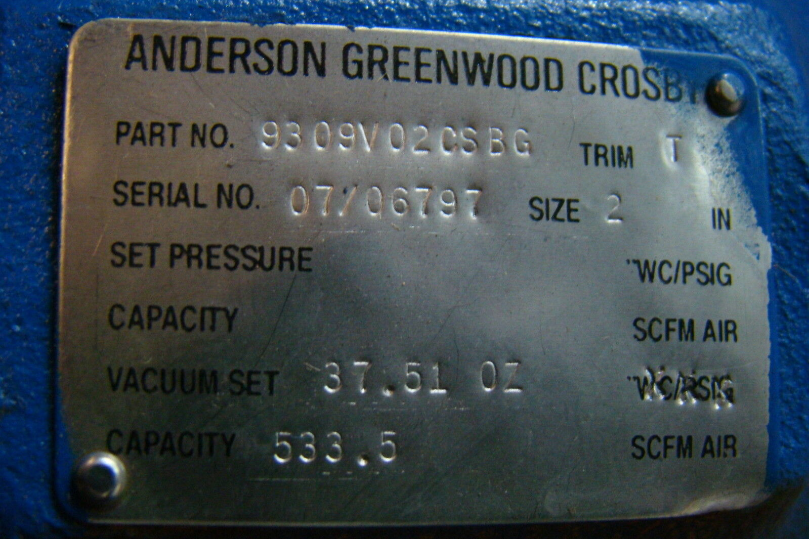 Details about anderson greenwood crosby relief valve 9309v02csbg