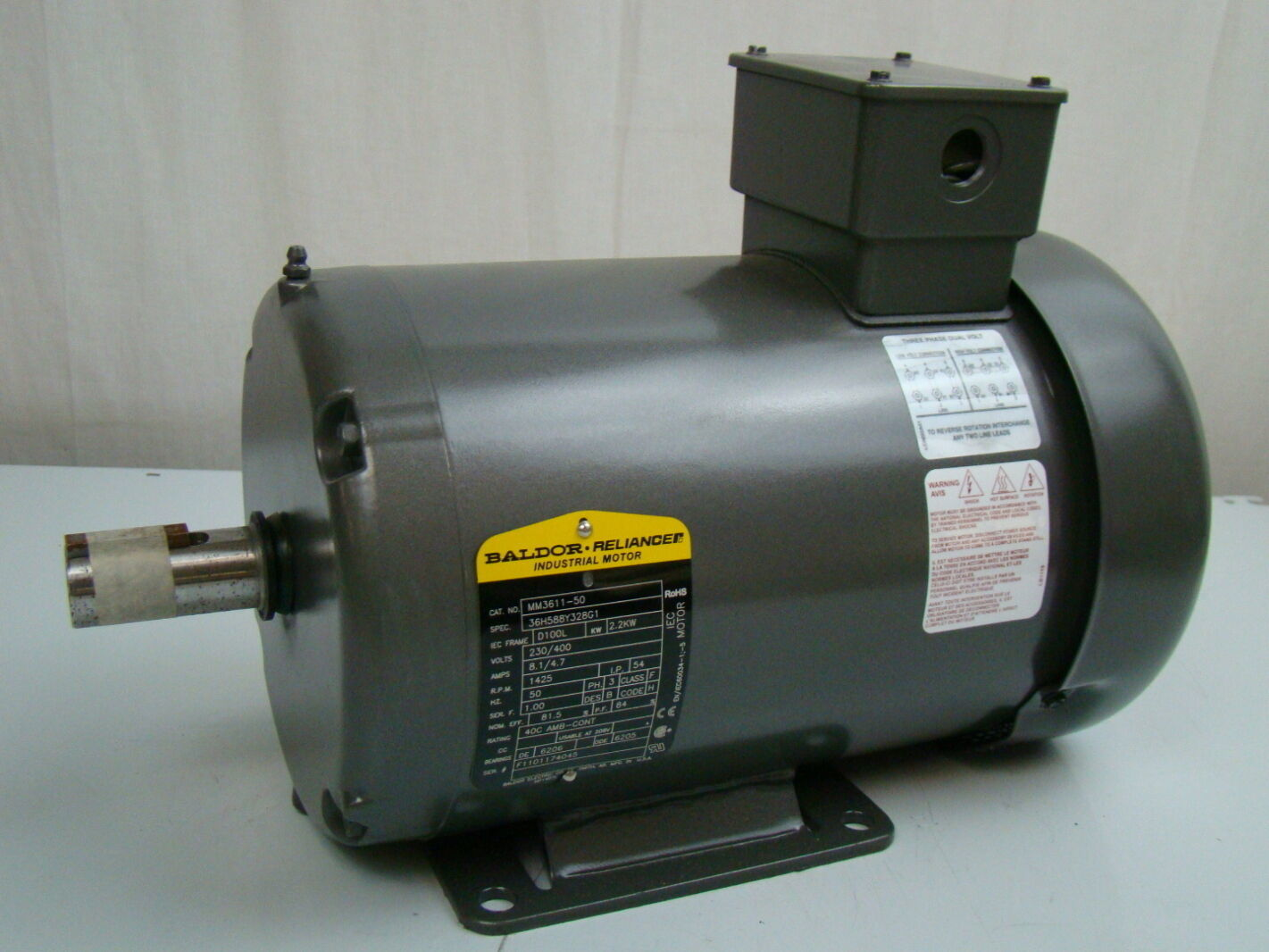 Baldor 2 2 kw 1425 rpm electric motor mm3611 50 ebay for 2 rpm electric motor