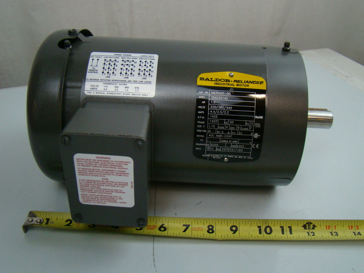 Baldor 1 5 Hp 1425 Rpm Electric Motor Vm3554t 50 Joseph