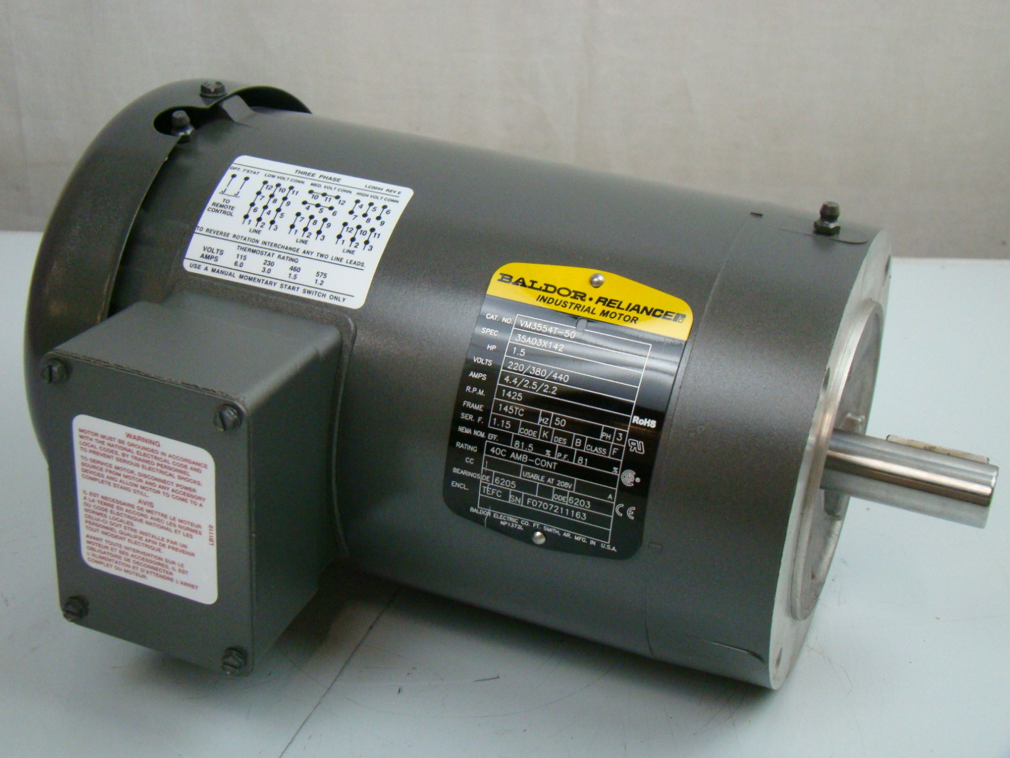Baldor 1 5 hp 1425 rpm electric motor vm3554t 50 for Baldor electric motor parts