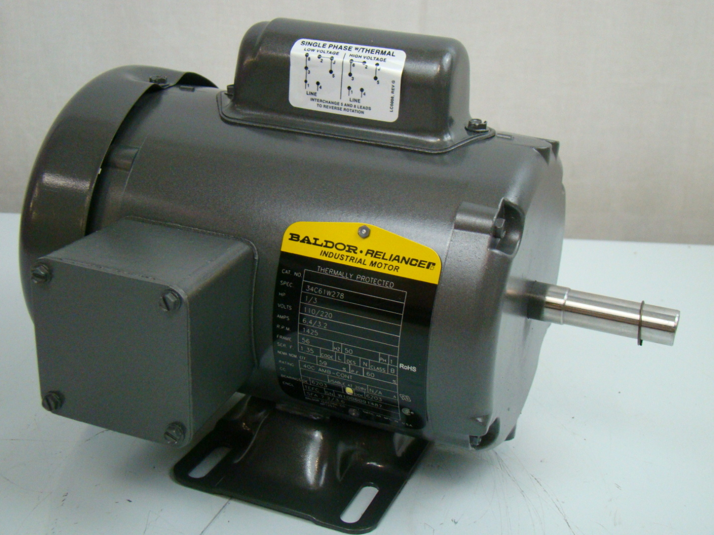 Baldor 1 3 hp 1425 rpm electric motor 34a63 3653 ebay for One horsepower electric motor