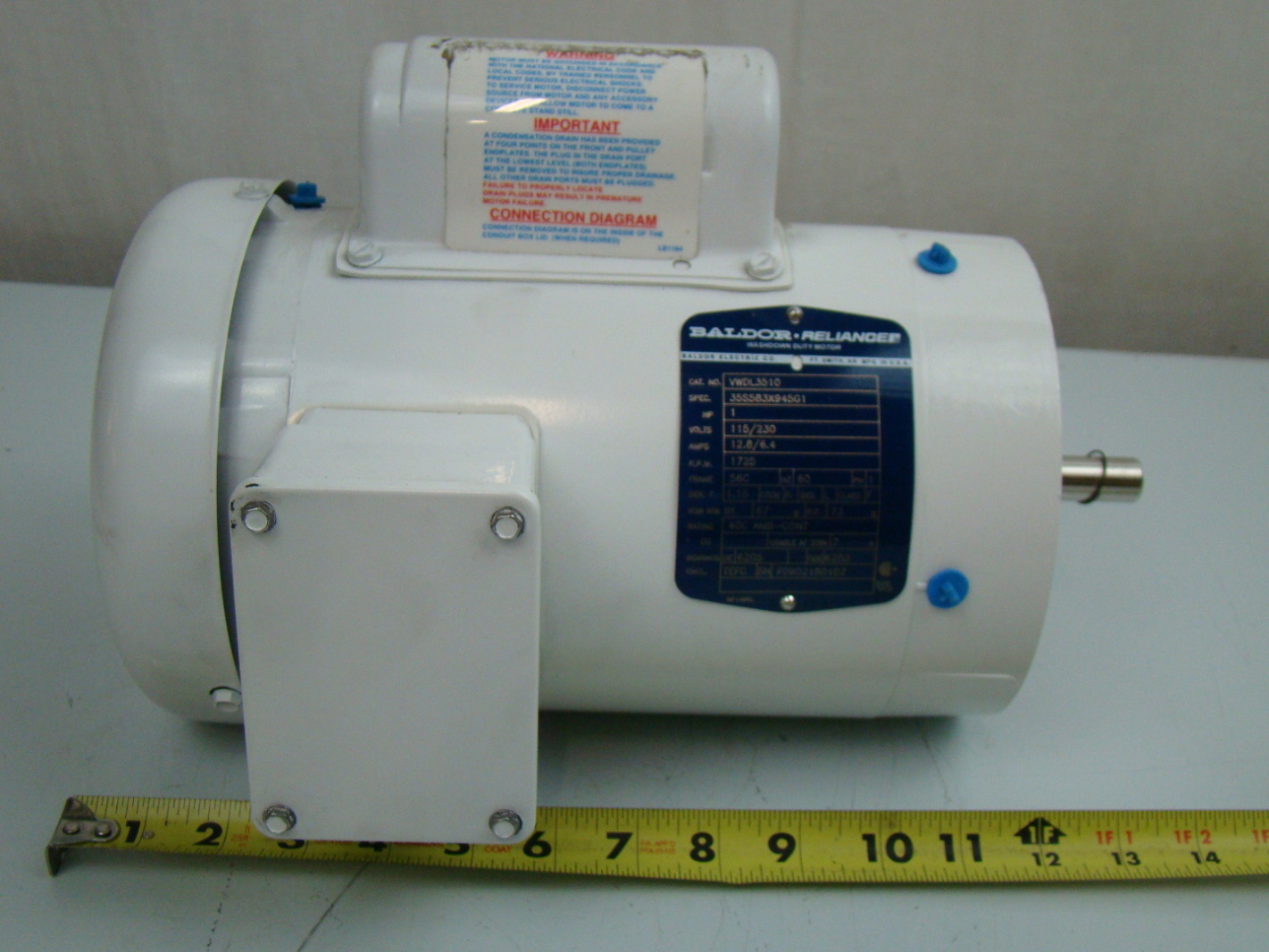 Baldor 1 3 Hp 1425 Rpm Electric Motor Vwdl3510 Ebay