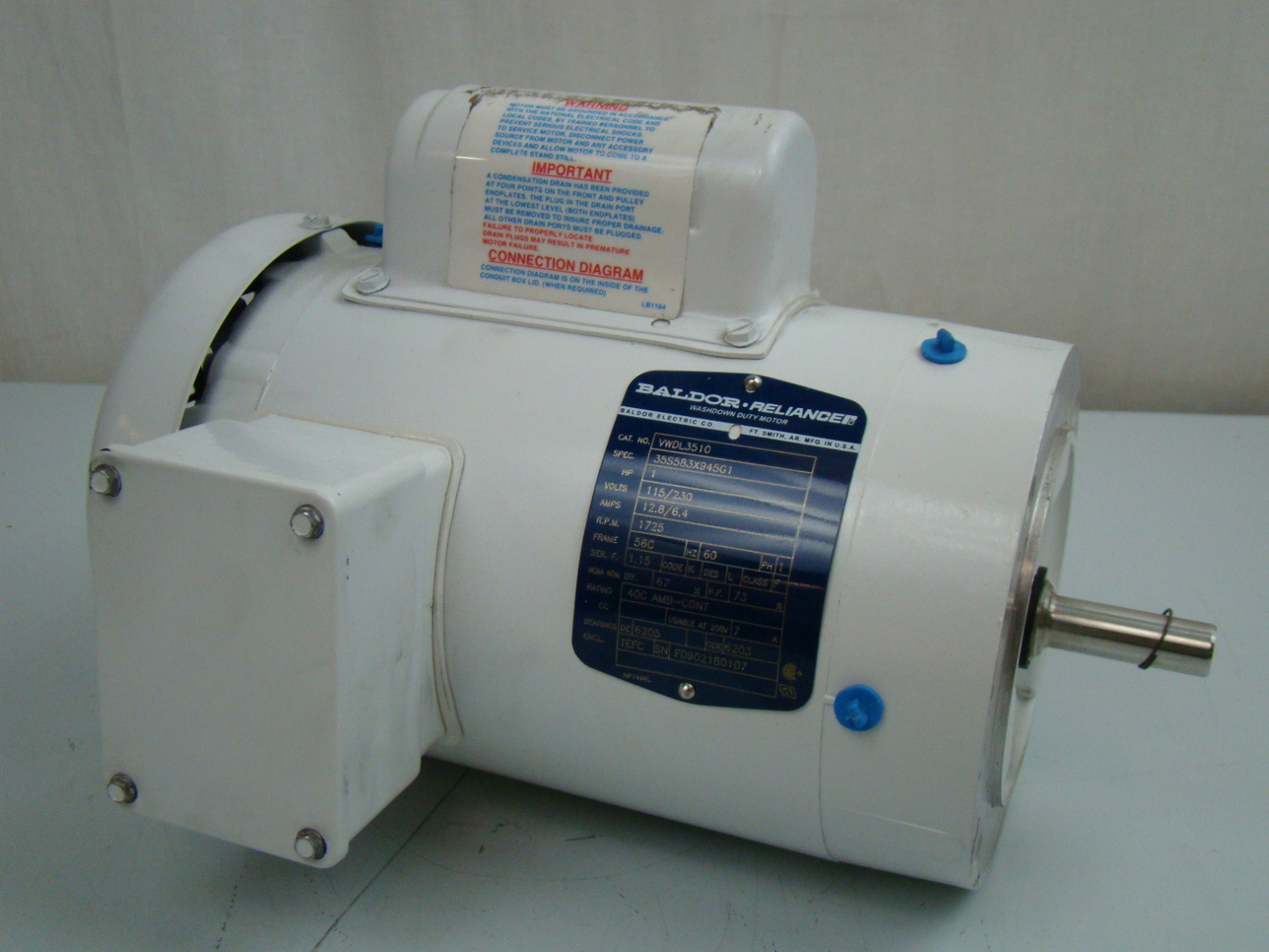Baldor 1 3 Hp 1425 Rpm Electric Motor Vwdl3510 Joseph