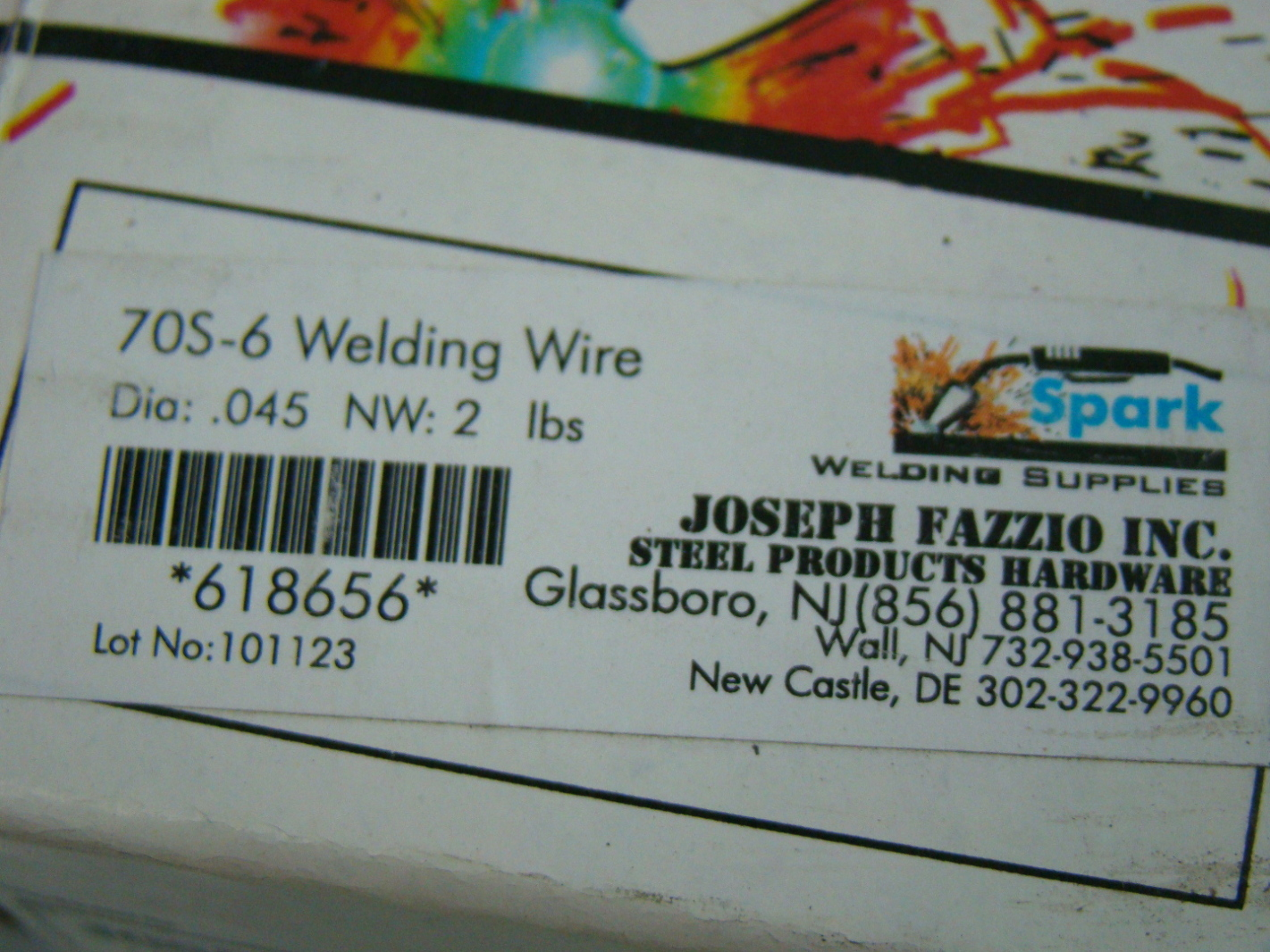 Joseph fazzio inc 045 2lb 70s 6 welding wire