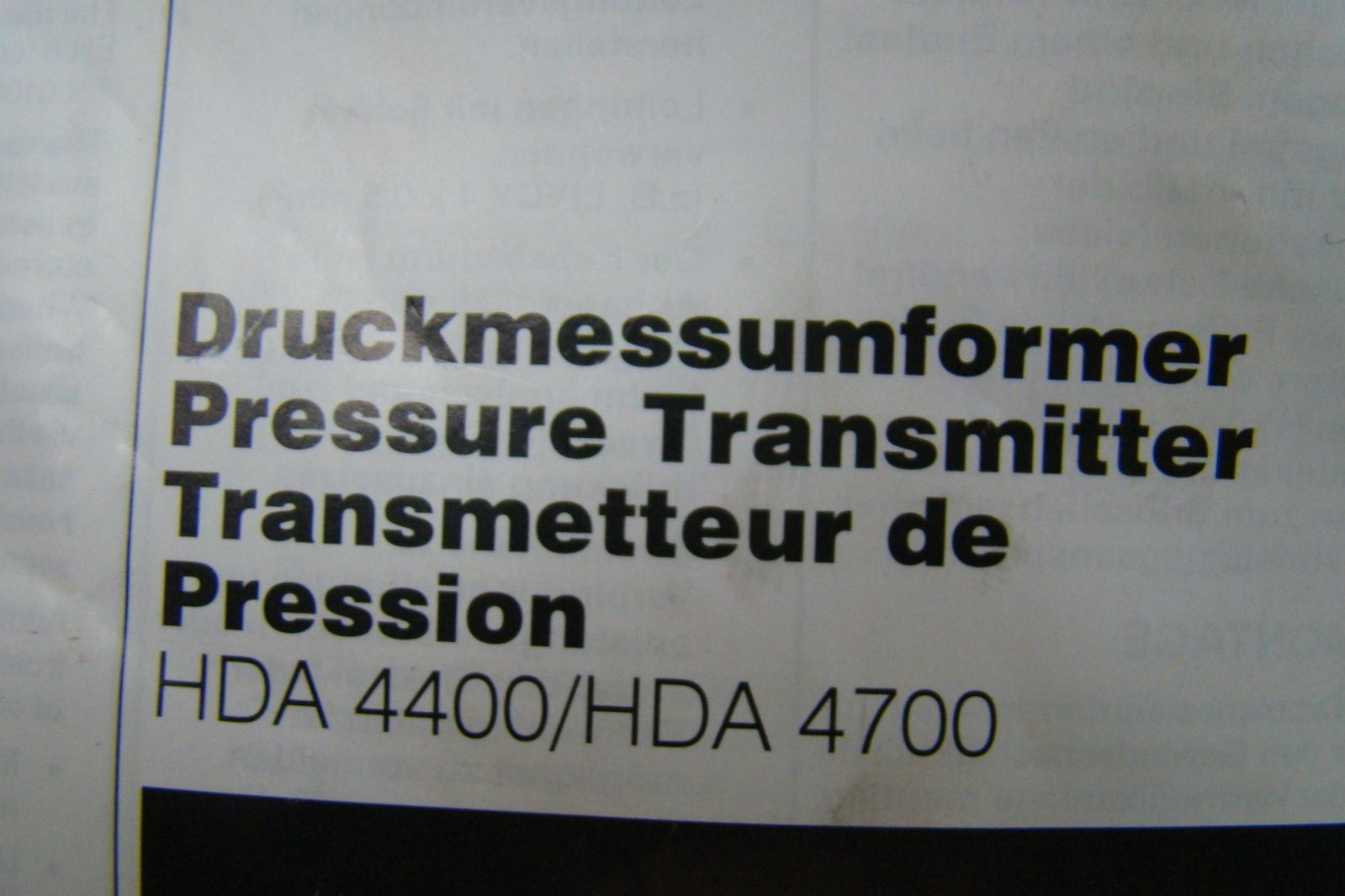 Hydac Electronic Pressure Transmitter HDA 4400