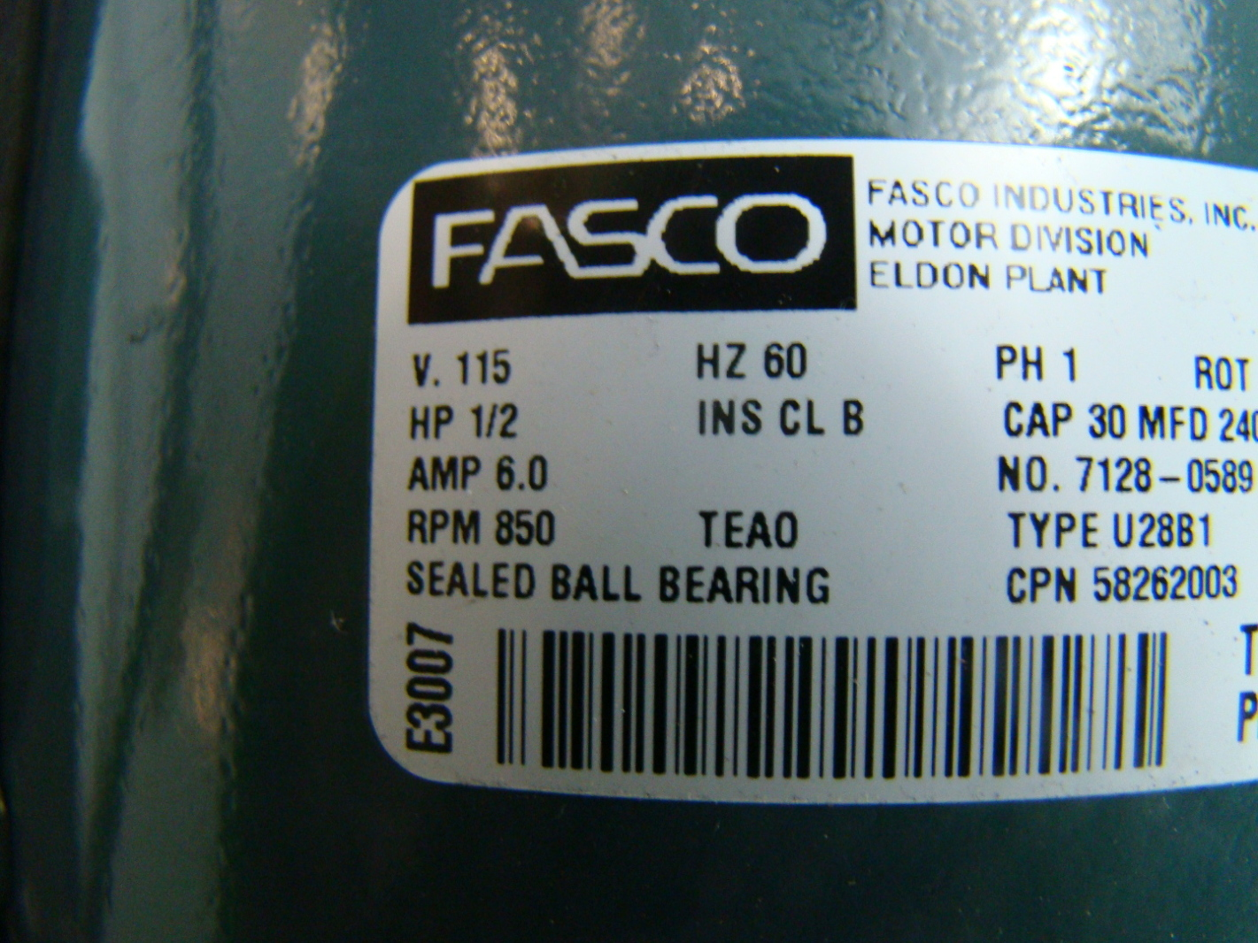 Fasco 1  2 Hp Electric Motor 115v 7128
