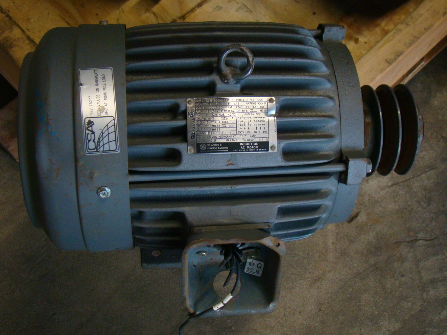 Ge 5hp electric motor 230 460v 184t 1745 rpm 5ke184bc205a 5hp motor