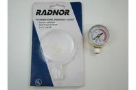 "Radnor Polished Steel Pressure Gauge 64003418 1-1/2"" x 30 PSI"
