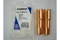 """(2 pcs) Radnor 64002704 Mig Products 22-50 Copper Nozzle 1/2"""" Bore"""